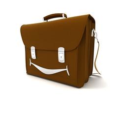 smiling leather satchel