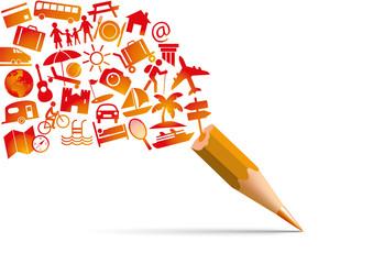 Concept des vacances avec l'univers des loisirs symbolisé par des pictogrammes qui s'échappent d'un crayon de couleur orange, représentant des transports, des activités et des destinations.