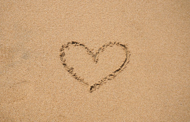 Top view of Heart on sand of the beach.