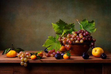 Still life with grapes, pears and plums
