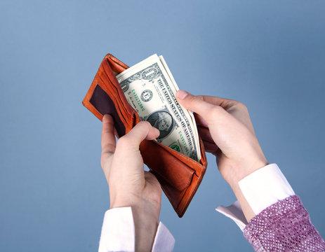 woman money in wallet