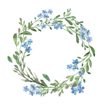 watercolor blue wreath of forget-me-not  with green leaves on white background