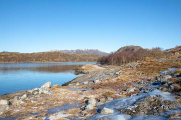 On hike coastal landscape at Helgeland in Norway