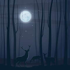 Night scene with a forest, moon and deers