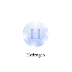 Molecule of Hydrogen Isolated on White Background. Chemical Element of the Periodic Table.