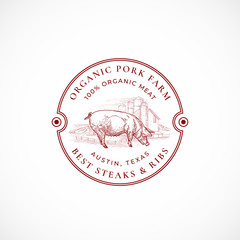 Pork Farm Framed Retro Badge or Logo Template. Hand Drawn Pig and Farm Landscape Sketch with Borders and Retro Typography. Vintage Sketch Emblem. Isolated