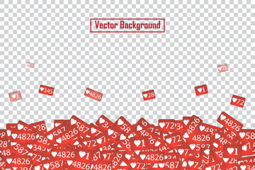 Social Network Like Counter Icons Abstract Illustration Isolated on transparent background. Design Elements for Web, Internet, App, Advertisement, Marketing