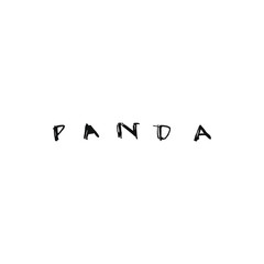 Panda lettering in graphic style. Graphic hand drawn illustration.