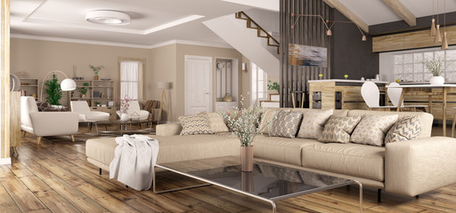 Interior of modern home panorama 3d rendering