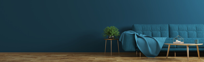 Interior of living room with blue sofa, wooden coffee table, vase with branch panorama 3d rendering