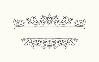 Hand drawn decorative border in grunge retro style