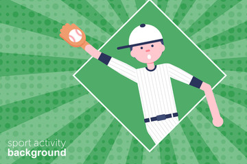 Vector Illustration. Baseball cartoon character in flat style. Baseball player with glove and ball in hat. Retro style. Background with Catcher icon