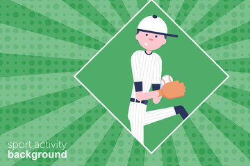 Vector Illustration. Baseball cartoon character in flat style. Baseball player with glove and ball. Retro style. Background. Pitcher