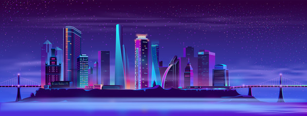 Modern metropolis cartoon vector night urban background in neon colors. Futuristic architecture illuminated skyscrapers, city district on artificial island connected with coast by bridge illustration