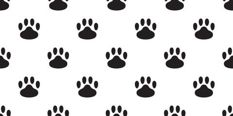 Dog Paw seamless pattern vector footprint cat bear puppy scarf isolated tile background repeat wallpaper cartoon illustration