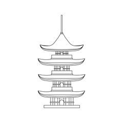 Traditional Asian House Thin Line Object. Vector