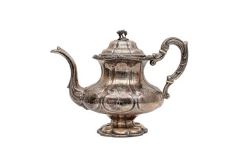 Antique silver teapot on a white background.