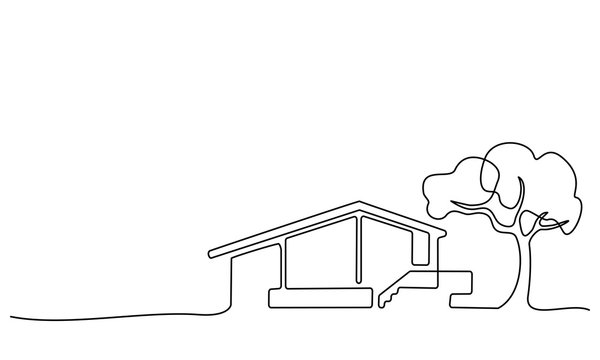 Continuous one line drawing Modern house logo
