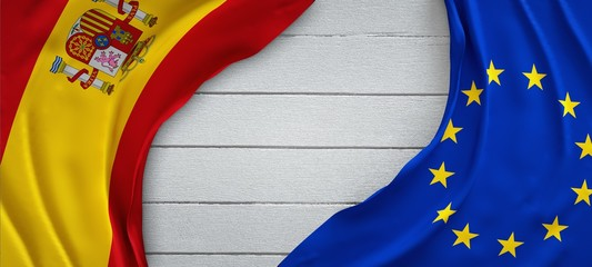 Flags, Spain and European Union