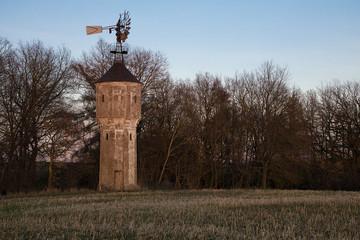 Windrad auf einem Turm für eine Wasserpumpe am Abend mit Bäumen im Hintergrund