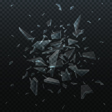 Vector shards of broken glass. Shattered glass pieces isolated on black background. Abstract explosion