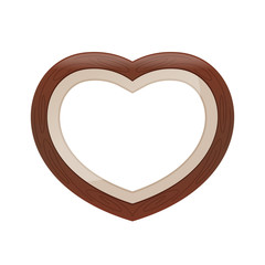 Brown pastel color wood frame Heart shape isolated white background, Heart-shape frame for lover photo wedding and familly, Wooden picture frame Beautiful and chic, Heart shape photo frame pastel