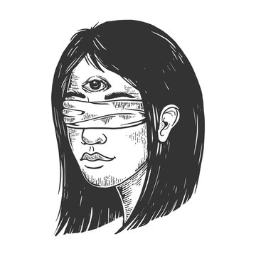 Blindfolded clairvoyant young woman with three eyes forehead vintage sketch engraving vector illustration. Scratch board style imitation. Black and white hand drawn image.