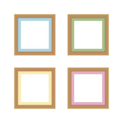 set of picture frames brown color, vintage frame image cute, frames picture chic luxury on white background