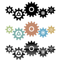 Group of connected gears vector illustration