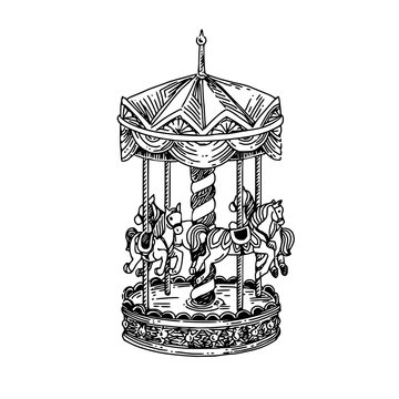 Vintage carousel with horses. Sketch. Engraving style. Vector illustration. .