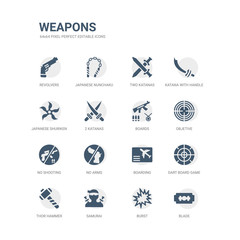 simple set of icons such as blade, burst, samurai, thor hammer, dart board game, boarding, no arms, no shooting, objetive, boards. related weapons icons collection. editable 64x64 pixel perfect.