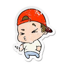 distressed sticker of a cartoon cool kid