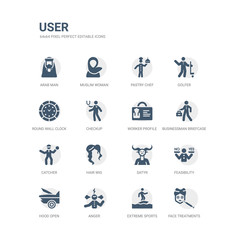simple set of icons such as face treatments, extreme sports, anger, hood open, feasibility, satyr, hair wig, catcher, businessman briefcase, worker profile. related user icons collection. editable