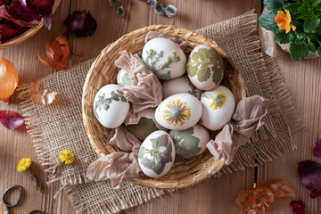 Preparation of Easter eggs for dying with onion peels