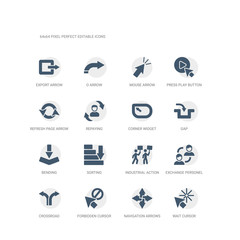 simple set of icons such as wait cursor, navigation arrows, forbidden cursor, crossroad, exchange personel, industrial action, sorting, bending, gap, corner widget. related ui icons collection.