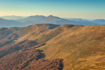 Obraz Bieszczady. Beautiful mountain landscape in autumn. Poland - fototapety do salonu