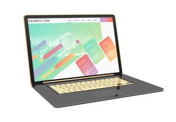 Isolated Black Laptop Mockup