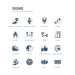 simple set of icons such as substract, entry, wifi, pranava om, islamic crescent with small star, thumbs down hand, yin yang, upstairs, chinese, gender. related signs icons collection. editable