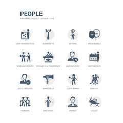 simple set of icons such as locust, pierrot, king momo, farmers, dancers, festa junina, monocular, good employee, meeting date, bad employee. related people icons collection. editable 64x64 pixel