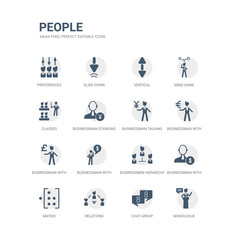 simple set of icons such as monologue, chat group, relations, matrix, businessman with dollar money, businessmen hierarchy, businessman with financial message about dollar, businessman with pound