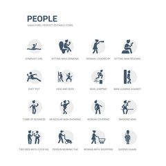 simple set of icons such as queens guard, woman with shopping cart, person mowing the grass, two men with cocktail glasses, smoking man, woman covering, muscular man showing his muscles, tumb up