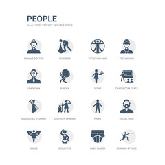 simple set of icons such as fencing attack, baby diaper, seductive, grace, facial hair, hairy, delivery woman, graduated student, classroom stats, serve. related people icons collection. editable