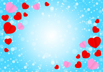 empty blue frame and red pink heart shape for template banner valentines card background, many hearts shape on blue gradient soft for valentine backgrounds, image blue with heart-shape decoration