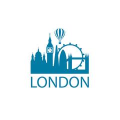 illustration of london landmark isolated on white background