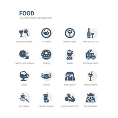 simple set of icons such as tea ceremony, healthy nutrition, healthy shakes, hot herbal, tropical drink, snack booth, hotdog, beers, ice cream truck, blend. related food icons collection. editable