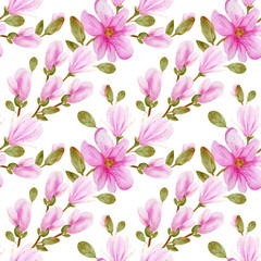 Watercolor illustration of a with flowers pink Magnolias, pattern on isolated white background for your design. Perfect for wallpapers, web page backgrounds, surface textures, textile.