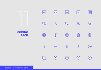 Vector Line Icons Coding Pack