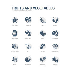 simple set of icons such as apricot, arugula, aubergine, basil, blackberry, celery, dill, dragon fruit, grapefruit, guava. related fruits and vegetables icons collection. editable 64x64 pixel