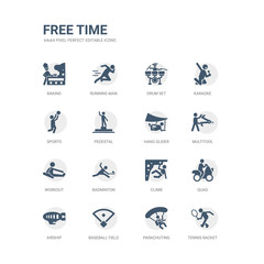 simple set of icons such as tennis racket, parachuting, baseball field, airship, quad, climb, badminton, workout, multitool, hang glider. related free time icons collection. editable 64x64 pixel