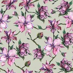 pink watercolor flowers , seamless pattern.